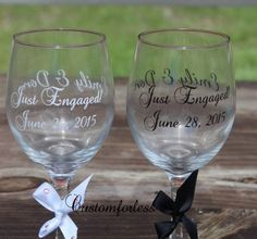 Just engaged , Engagement gift idea. Monogrammed Glasses, Just Engaged, Engagement Gifts, Wine Glass, Vinyl Decals, Engagement Presents, Wine Bottles