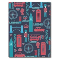 Cool trendy vintage London illustrations pattern, Big Ben, Tower bridge, post box, phone box, red bus, London eye, black cab taxi, queen head, crown, Union Jack, U.K. flag hearts, London word, vibrant blue, soft red white colours, dark navy blue background. London, England, United Kingdom, Love, romantic, city, whimsical, unique, cute, pretty, fashion, awesome image. Personalize it with your name favourite word or phrase by clicking the customise button and add text, choose the text font and…
