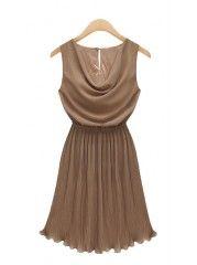 Round  Neck Sleeveless Chiffon  Casual Dresses