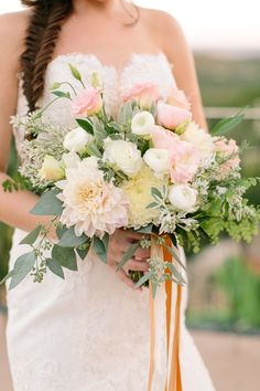 Dahlia, ranunculus bouquet | photo by Mint Photography | Read more - www.100layercake....