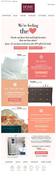 Home Decorators Collection Valentine's Day email 2015
