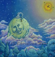The Moon Goes to Sleep Sun Celestial Clouds Pastel Forest Night Sky Fantasy Art Giclee Print by cgbartwork on Etsy