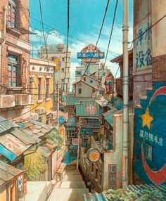 from the film TekkonKinkreet (鉄コン筋クリート ). Original comic was written by Taiyo Matsumoto (松本大洋). Environment Concept Art, Environment Design, Animation Background, Art Background, Fantasy Landscape, Fantasy Art, Art Watercolor, Wow Art, Norman Rockwell