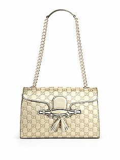 Gucci Emily Guccissima Metallic Leather Chain Shoulder Bag