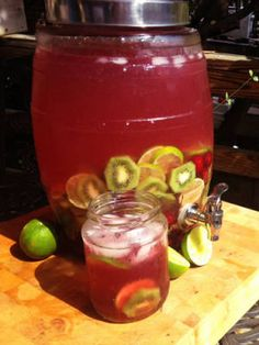 Punch in large mason jar with cups/glasses