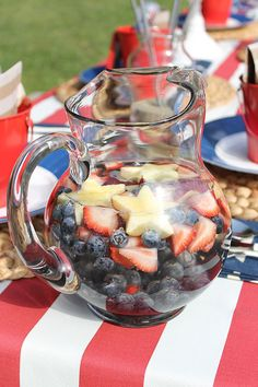 "Patriotic Party Water! A fun drink for ""kids"" of all ages. #july4th"