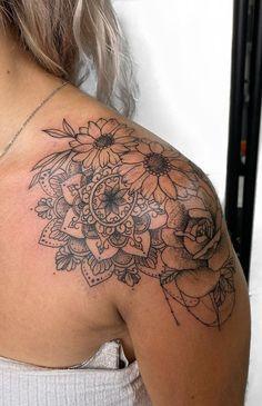 Ankle Tattoos For Women Mandala, Rose Tattoos For Men, Tattoos For Women Half Sleeve, Girly Tattoos, Dope Tattoos, Floral Mandala Tattoo, Mandala Tattoo Sleeve, Mandala Tattoo Design, Tattoo Designs