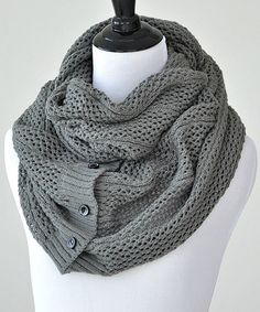 Look what I found on #zulily! Mid-Gray Samantha Button Infinity Scarf #zulilyfinds
