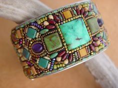 Beads set in epoxy clay - OOAK - Mosaic Channel Cuff Bracelet by HeidiKummliDesigns on Etsy