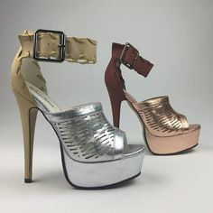 NEW ARRIVAL: Silver or bronze two-tone platform stiletto with thick ankle buckle. Step out in style in this beauty. #shoehaul #shoehaulstore
