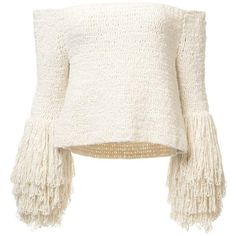Crochet Fringe Sweater (8,065 PEN) ❤ liked on Polyvore featuring tops, sweaters, macrame top, fringe tops, boucle sweater, white fringe top and white top