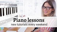 A creative youtube video template. Background video of a girl playing the piano with a text box including piano lessons new tutorials every weekend.