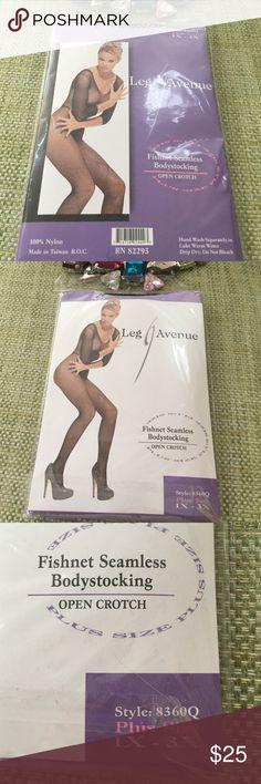 NWT BODYSTOCKING BLACK FISHNET 1X - 3X  NEW IN PACKAGE NWT - Black Fishnet BODY STOCKING by Leg Avenue. Open Crotch. Plus Size 1X 2X 3X. Leg Avenue Intimates & Sleepwear