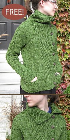 Free Knitting Patterns For Women, Knitting Designs, Knit Patterns, Easy Sweater Knitting Patterns, Lace Knitting, Knit Crochet, Knit Cardigan Pattern, Sweater Cardigan, Quick Knits