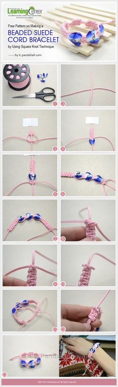Free Pattern on Making a Beaded Suede Cord Bracelet by Using Square Knot Technique