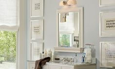 The Top 100 Benjamin Moore Paint Colors — Nightingale [listed under blues] (South Shore Decorating Blog) (I also like the framed alphabets in different fonts.)