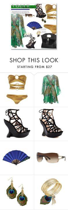 """Vogue Fashion Girl"" by leanne-mcclean ❤ liked on Polyvore featuring Triya, Malvin, Truth or Dare, Bulgari, Thalia Sodi, beach, bikini, swimwear, peacock and coverUp"