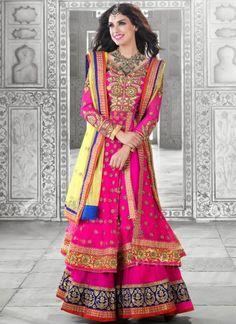 Beautiful Hot Pink #Net & #Faux #Georgette #Lehenga #Choli