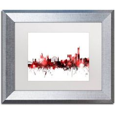 Trademark Fine Art Manchester Skyline Red 2 inch Canvas Art by Michael Tompsett, White Matte, Silver Frame, Size: 11 x 14