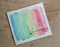 I really did have a ton of fun making cards for Winnie & Walter's Share the Lo. Rainbow Card, Rainbow Colors, Diy Cards, Craft Cards, Thank U Cards, Die Cut Cards, Pretty Cards, Distress Ink, Watercolor And Ink
