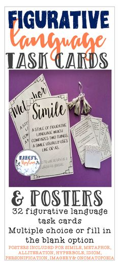 Figurative Language Task Cards and Posters Creative Teaching, Teaching Ideas, Third Grade, Fourth Grade, Similes And Metaphors, Fluency Practice, Reading Comprehension Strategies, 5th Grade Reading, Teacher Inspiration