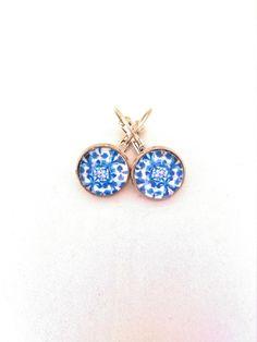 Portuguese tiles earrings, Azulejos, Portuguese jewelry, Mini size earrings, Blue by Bijoucci on Etsy