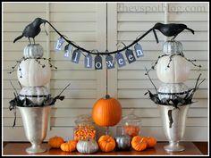 Black & White Halloween Vignette. Love the birds holding the bunting. via @thevspot