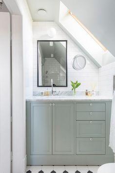 Custom built small bathroom with angeled ceiling in farrow and ball teal green. Zen Bathroom, Modern Bathroom, Master Bathroom, Bathroom Interior, Bathroom Ideas, Neutral Bathroom, Bathroom Basin, Bathroom Cabinets, Bathroom Designs