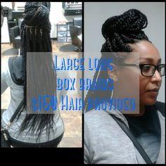 Long large box braids $150 Hair provided