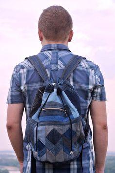 Patchwork denim backpack Cubes by bRucksack on Etsy