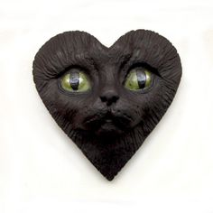 Black Cat Heart Face Cab Polymer Clay Cabochon by graphixoutpost, $10.00