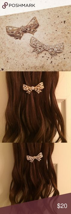 New! Crystal Hair Bows! New in package. Comes in pair of silver and gold. Bella con Sol Accessories Hair Accessories