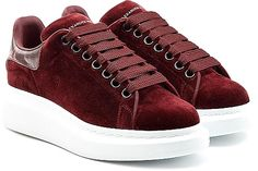 Alexander McQueen Shoes - A chunky platform sole adds stylish depth to these deep red velvet sneakers from Alexander McQueen. A tonal snakeskin tab at the heel lends modern attention-to-detail and exotic finesse. - #alexandermcqueenshoes #redshoes