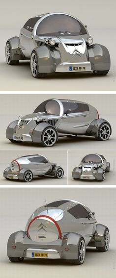♂ This Citroen concept car has just entered from future for all Citroen 2CV lovers. This concept is designed by David Portela to present a classic model. From http://www.tuvie.com/this-could-be-the-future-of-citroen-2cv-car/