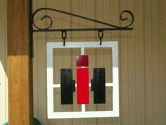 International Harvester sign made with an old window and hanging bracket. International Harvester Truck, International Tractors, International Scout, Case Tractors, Farmall Tractors, Outdoor Projects, Wood Projects, Red Tractor, Tractor Decor