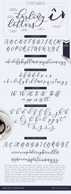 Darling letters font by HowJoyful on Hand Lettering Styles, Hand Lettering Practice, Hand Lettering Quotes, Brush Lettering, Lettering Ideas, Script Alphabet, Script Fonts, All Fonts, How To Write Calligraphy