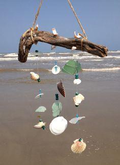 Seashell and Genuine Sea Glass Wind Chime.  $20