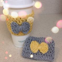 Set of Matching Crochet Coffee Cup Cozy with Crochet Bow Yellow and Grey on Etsy, $18.00