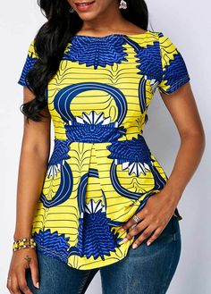 Boat Neck Printed Short Sleeve Blouse Source by The post Boat Neck Printed Short Sleeve Blouse – African Fashion Dresses appeared first on 2019 Trends. African Fashion Ankara, African Fashion Designers, Latest African Fashion Dresses, African Dresses For Women, African Print Dresses, African Attire, African Wear, African Print Top, Modern African Fashion