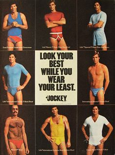 """Look your best while you wear your least."", Jockey, 1976"
