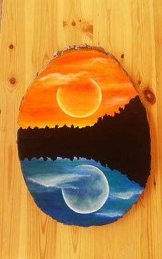 Day and night painting, acrylic painting of a moon and sun, wood round painting, wood wall art, hand painted paintings, sunrise and sunset by KayzAttic on Etsy