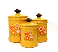 Vintage Canister Set FLOWER POWER Harvest by PeachyChicBoutique