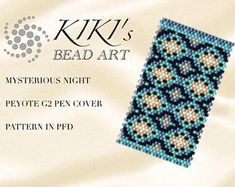 Pattern, peyote pen cover Mysterious night peyote pattern for pen wrap - peyote pattern for G2 pen by Pilot- in PDF instant download