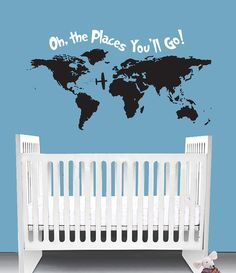 Oh the Places You'll Go Dr Seuss inspired Nursery Wall Decal Quote Crib Bedding Wall Art World Nautical travel map Bedroom. ***This wall decal comes in multiple sizes, select the size you desire*** Oh the places you'll go! This decal makes a great addition to any child's nursery or bedroom. Add some storybook classic adventure with this wall decal. It features a complete world map with airplane and the Dr Seuss quote Oh the places you'll go. This decal is offered in the following sizes:...