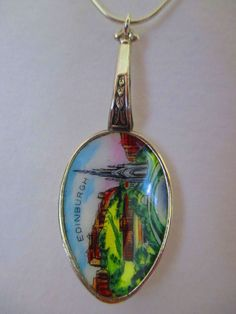 Edinburgh, Scotland enamelled spoon with sterling silver chain