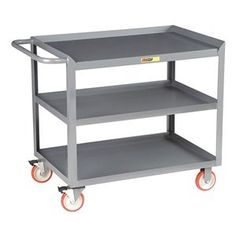 Mobile Work Center, 3 Shelf, 54x24x35 by Little Giant. $428.09. Mobile Work CenterLoad Capacity (Lb.) 1200, Steel Construction, Powder Coat Finish, GrayOverall Length (In.) 54, Overall Width (In.) 24, Overall Height (In.) 35Caster Type Polyurethane, Caster Size (In.) 5Includes 3 Shelves and 4 Casters, 2 Rigid & 2 Swivel With Total Lock Brakes
