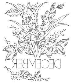 vintage flowers embroidery or redwork  december