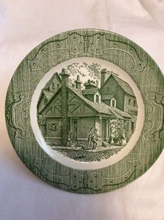 Royal China The Old Curiosity Shop Dinner Plates Used Green Antique USA  | eBay