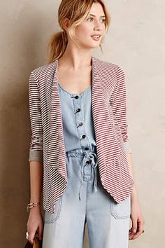 I have a sweater with a similar silhouette and I love it. This one is awesome with the thin stripes.