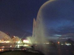 Largest river water fountain in the world in downtown Dayton, Ohio at night. Seen from Riverscape Metropark of the Five Rivers Metroparks.